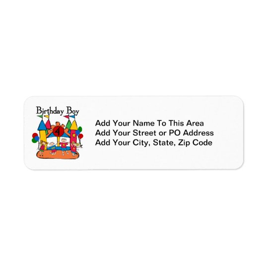 Big Bounce Boy 4th Birthday Tshirts and Gifts Return Address Label
