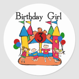 Big Bounce Girl 3rd Birthday Tshirts and Gifts Round Sticker