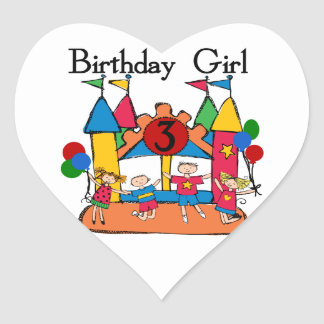 Big Bounce Girl 3rd Birthday Tshirts and Gifts Heart Stickers