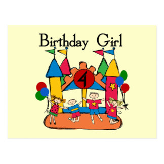 Big Bounce Girl 4th Birthday T-shirts and Gifts Postcards