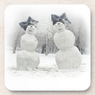 Big Bow Hat for Snowmen and the Holidays Beverage Coasters