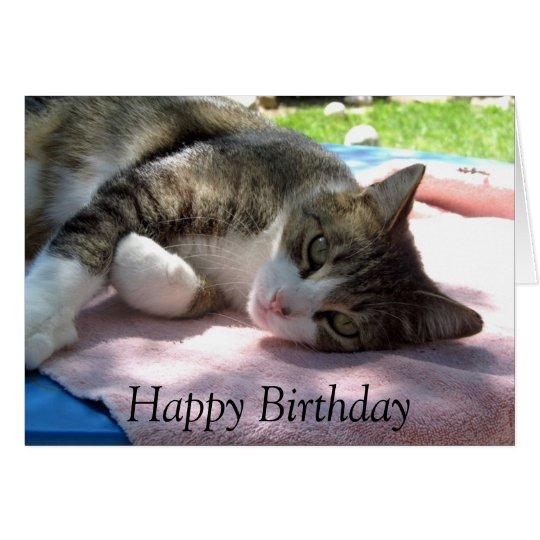 Big Boy Cat on Table Birthday Card