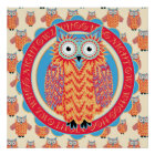 Big Bright Night Owl Poster - Children's Room