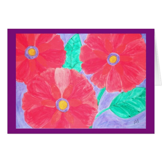 Big, bright red flowers watercolor card