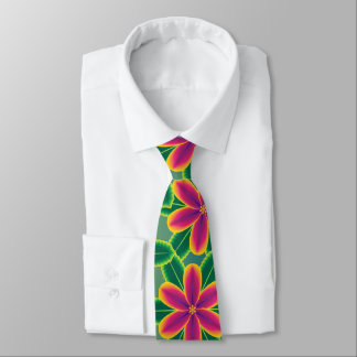 Big Bright Tropical Flowers Hawaiian Jungle Tie
