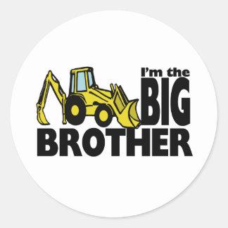 Big Brother Backhoe Round Sticker