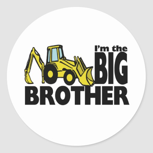 Big Brother Backhoe Round Stickers