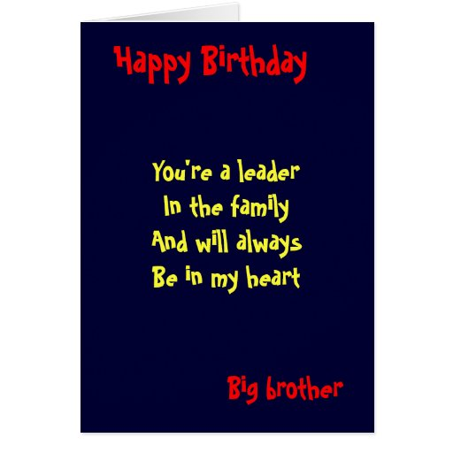 Big Brother Greeting Cards Big Brother Birthday Greeting