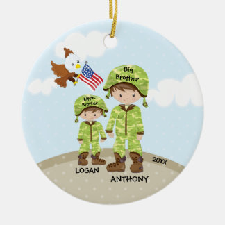 Big Brother Little Bro Soldier Christmas Ornament