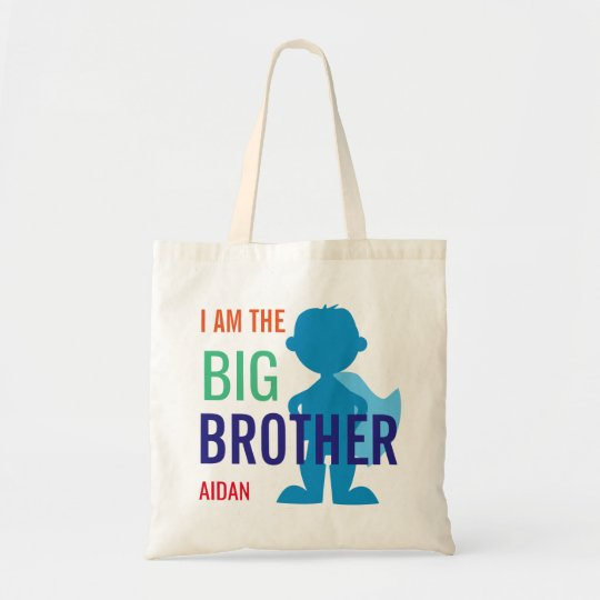 Big Brother Personalised Superhero Silhouette Boys Tote Bag