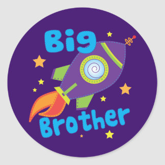 Big Brother Rocket Ship Sibling Sets Round Sticker