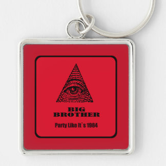 big brother Silver-Colored square key ring