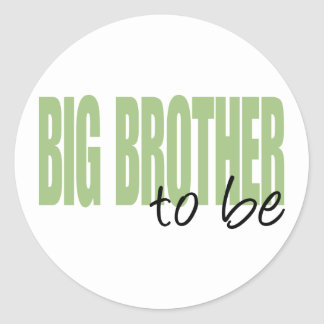 Big Brother To Be (Green Block Font) Round Stickers