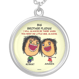 Big Brothers Pledge To Sister Silver Plated Necklace
