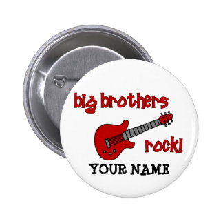 Big Brothers Rock! with guitar 6 Cm Round Badge