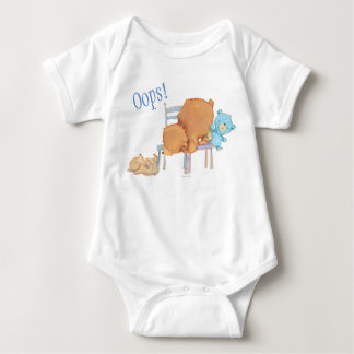 Big Brown Bear, Calico, & Floppy Share Two Chairs Baby Bodysuit