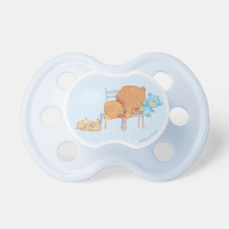 Big Brown Bear, Calico, & Floppy Share Two Chairs Baby Pacifiers