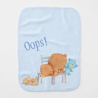 Big Brown Bear, Calico, & Floppy Share Two Chairs Burp Cloth