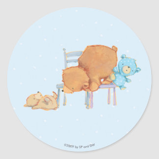 Big Brown Bear, Calico, & Floppy Share Two Chairs Classic Round Sticker