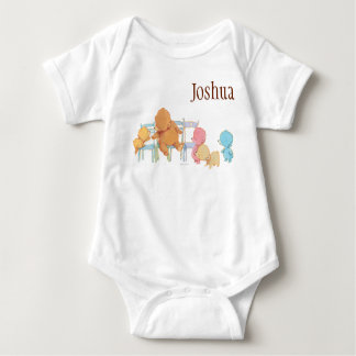 Big Brown Bear & Friends Share Four Chairs Baby Bodysuit