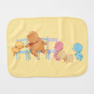 Big Brown Bear & Friends Share Four Chairs Burp Cloth