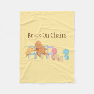 Big Brown Bear & Friends Share Four Chairs Fleece Blanket