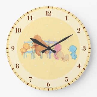 Big Brown Bear & Friends Share Four Chairs Large Clock