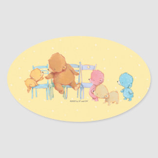 Big Brown Bear & Friends Share Four Chairs Oval Sticker