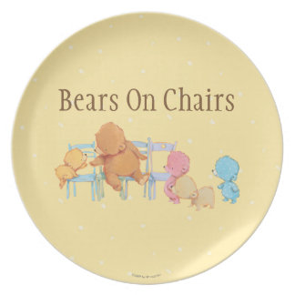 Big Brown Bear & Friends Share Four Chairs Plate