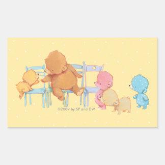 Big Brown Bear & Friends Share Four Chairs Rectangular Sticker
