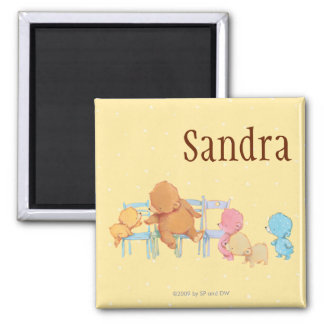 Big Brown Bear & Friends Share Four Chairs Square Magnet