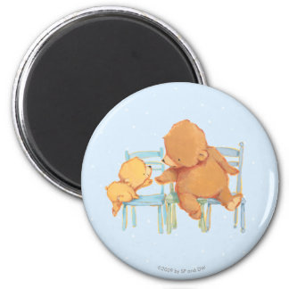 Big Brown Bear Helps Little Yellow Bear 6 Cm Round Magnet