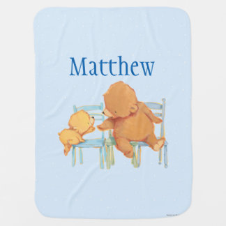 Big Brown Bear Helps Little Yellow Bear Baby Blanket