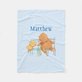 Big Brown Bear Helps Little Yellow Bear Fleece Blanket