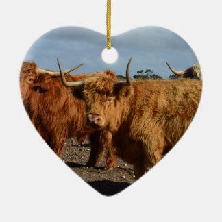 Big_Brown_Highland_Cows,_ Ceramic Heart Decoration