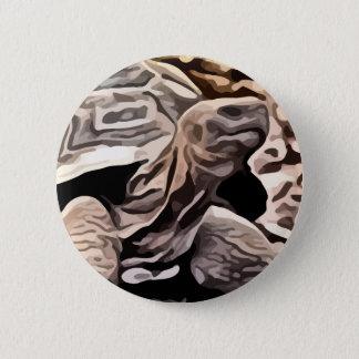 big brown turtle painting 6 cm round badge