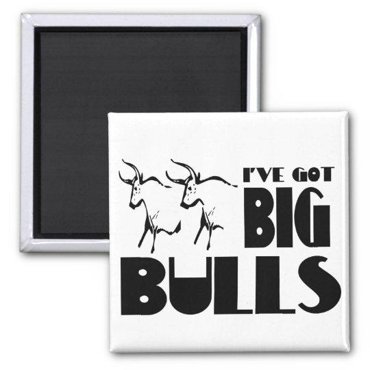 Big Bulls - Funny Farmer Square Magnet