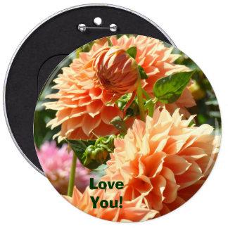 Big Buttons custom Love You Orange Dahlia Flowers