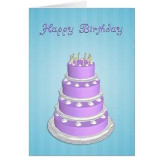 Big Cake Birthday Card-Blue Greeting Card