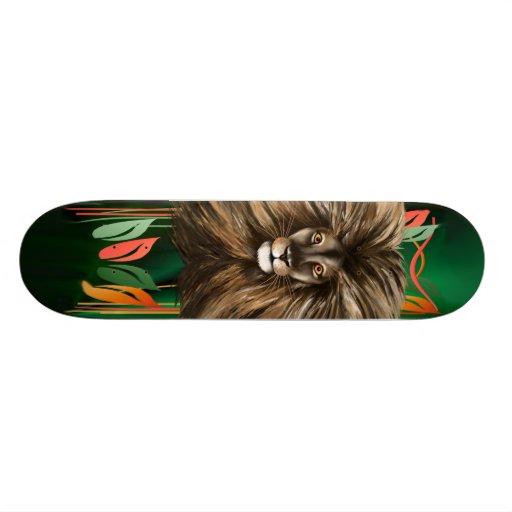 Big Cat and Colorful Jungle Skateboard Deck