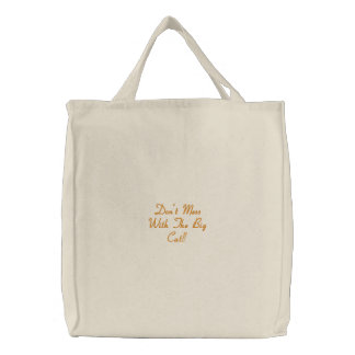 Big Cat Embroidered Tote Bag