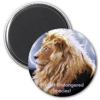 BIG CAT Endangered Species Series 6 Cm Round Magnet
