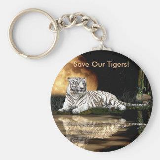 Big Cat Rare White Tiger Collection Basic Round Button Key Ring