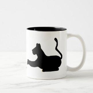 Big Cat Silhouette Two-Tone Mug