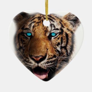 Big Cat Tiger Face Ceramic Heart Decoration