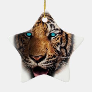 Big Cat Tiger Face Ceramic Star Decoration