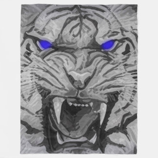 Big Cat White Bengal Tiger With Blue Glowing Eyes Fleece Blanket