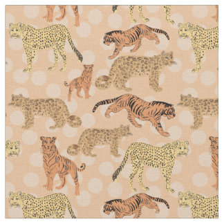 Big Cats On Peach Polka Dots Fabric