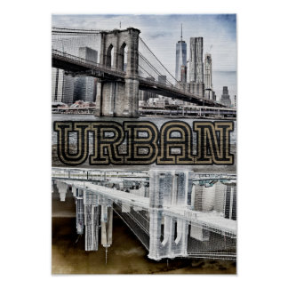 Big City Bridge Urban Life Poster