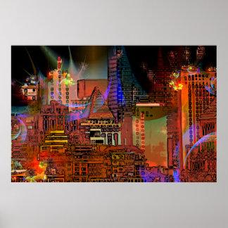 Big City Lights Art Poster